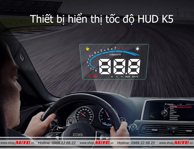 Thiết bị hiển thị tốc độ lên kính lái xe ô tô K5
