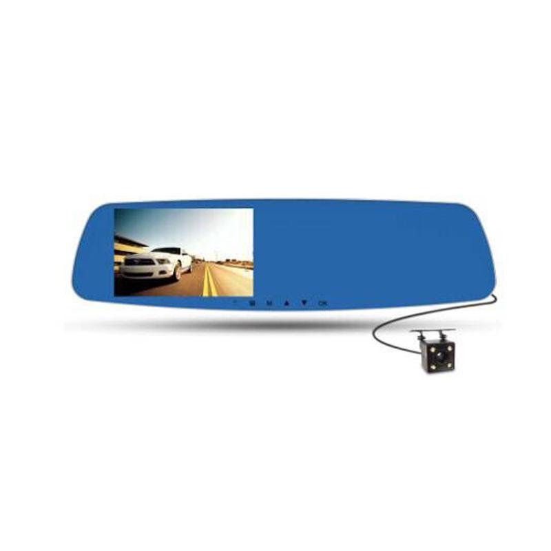 Camera hành trình tích hợp camera lùi trên gương chiếu hậu HD-900